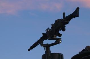 La veterana y exitosa ametralladora MG-3, de 7,62 mm., en este caso en el afuste de torre de un Centauro. © Carlos Molero