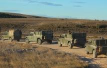 Vehículos de Alta Movilidad Táctica (VAMTAC) de la Batería Mistral del Grupo de Artillería de Campaña VII. Ellos proporcionan la defensa aérea de corto alcance al puesto de mando del grupo táctico. © Carlos Molero