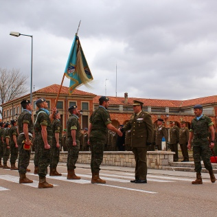 El comandante militar de Valladolid y Palencia, general Rivas, saluda a los jefes de unidad que participaron en el acto militar.