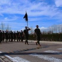 """Por la Avenida del Zar Nicolás II de la Base Militar """"El Empecinado""""; desfila el escuadrón de Plana Mayor y Servicios."""